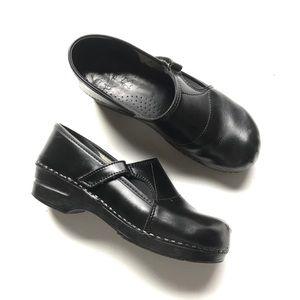 Dansko Clog Heel Black Leather Velcro Closure